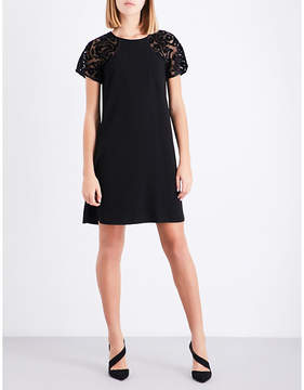 Claudie Pierlot Floral mesh-sleeve crepe dress