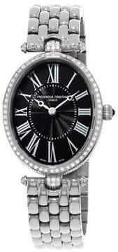 Frederique Constant Ladies' Classics Art Deco Stainless Diamond Watch, Black