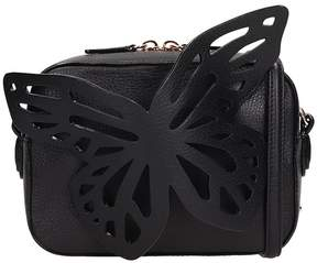 Sophia Webster Black Letaher Flossy Butterfly Camera Bag