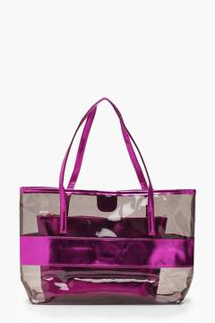 boohoo Clear Metallic Shopper With Insert