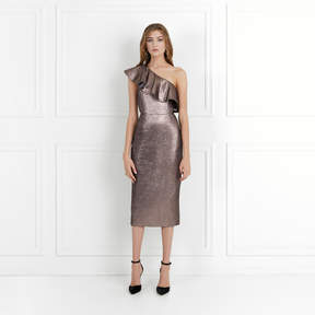 Rachel Zoe Tabitha Mauve Metallic Jacquard One-Shoulder Dress