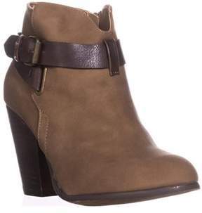 XOXO Katniss Block-heel Cross Strap Booties, Taupe.