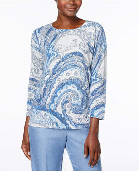 Alfred Dunner Silver Bells Paisley Studded Sweater