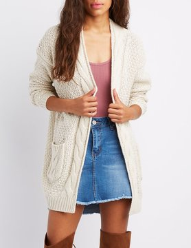 Charlotte Russe Cable Knit Open-Front Cardigan