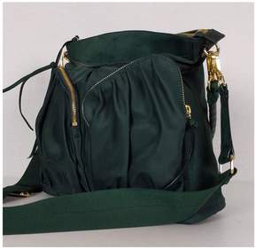 MZ Wallace Forest Green Nylon & Suede Purse