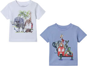Mayoral White and Blue Two Pack of Animal Road Trip T-Shirts