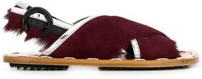 Marni fur trimmed sandals