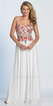 Dave and Johnny Sweetheart Embroidered Sheer Corset Prom Dress