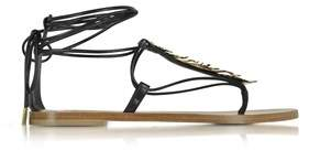 Roberto Cavalli Women's Black Leather Sandals.