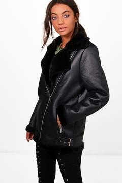 boohoo Maddison Boutique Faux Fur Trim Aviator Jacket