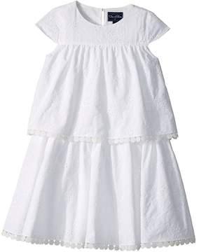 Oscar de la Renta Childrenswear Cotton Flower Eyelet Tiered Dress Girl's Dress