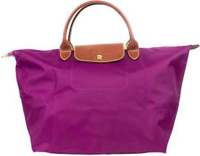 Longchamp Purple Le Pliage Medium Top Handle Tote