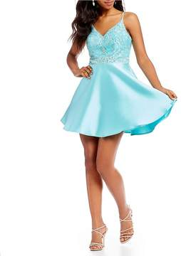 B. Darlin Beaded Bodice Satin Party Dress