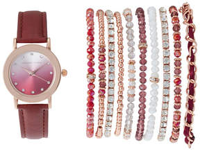 Adrienne Vittadini ADST1711R165 Rose Gold-Tone & Burgundy Watch & Bracelet Set