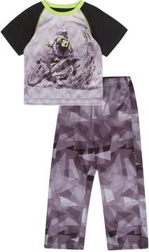 Petit Lem Black Motorbike Pajama Set - Boys