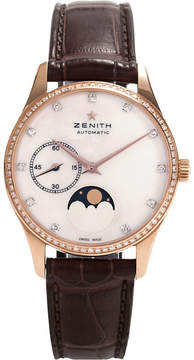 Zenith 22.2310.692/81.C709 Moonphase automatic rose gold and leather strap watch