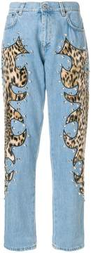 Moschino studded leopard print inset jeans