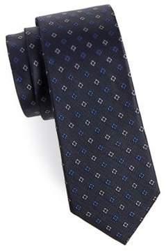 Black & Brown Black Brown Embroidered Boxes Silk Tie
