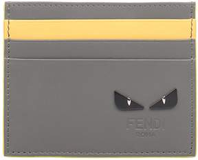 Fendi Gray/yellow Bag Bugs Leather Card Holder