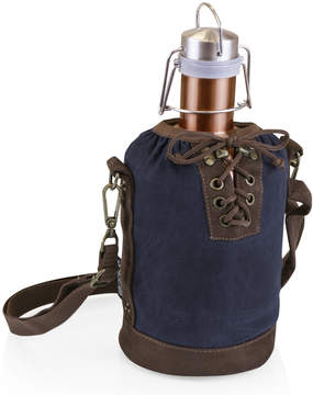 Picnic Time Navy & Brown Insulated Growler Tote & Copper Steel Growler