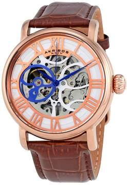 Akribos XXIV Akribos Manual Wind Skeleton Dial Rose Gold-Tone Men's Watch