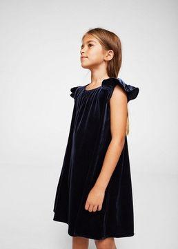 MANGO Ruffled velvet dress