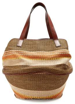 Max Mara Party Raffia And Leather Basket Bag - Womens - Brown Multi