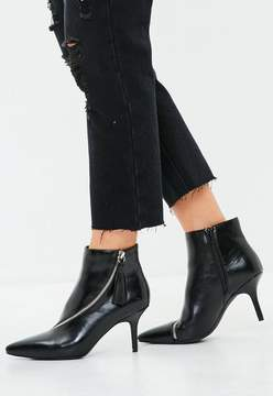 Missguided Black Asymmetric Zip Kitten Heel Ankle Boots