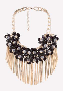 Bebe Fringe Floral Necklace