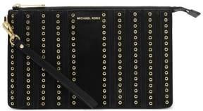 Michael Kors Womens Brooklyn Suede Grommet Wristlet Handbag - BLACK - STYLE