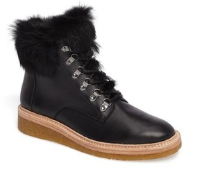 Botkier Women's Winter Genuine Rabbit Fur Trim Boot