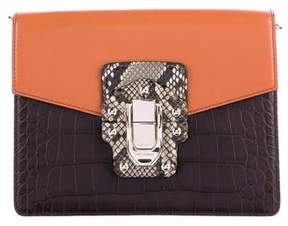 Dolce & Gabbana Spring2017 Python & Crocodile Lucia Clutch - BROWN - STYLE