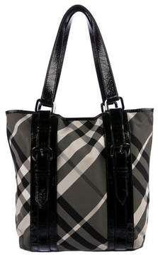 Burberry Leather-Trimmed Beat Check Tote