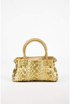 Carlos Falchi Pre-owned Gold Olive Green Sparkly Embossed Leather Leopard Printed Bag.