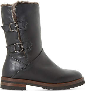 Dune Ladies Black Raylan Faux-Fur Lined Leather Boots
