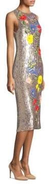 Alice + Olivia Nat Embroidered Sequin Midi Dress