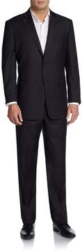 Saks Fifth Avenue BLACK Men's Regular-Fit Chevron Tonal-Striped Wool Suit