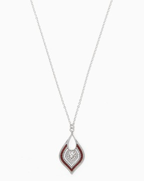 Charming charlie Burgundy & White Beaded Pendant Necklace