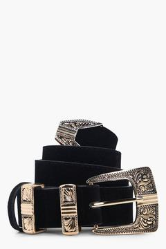 boohoo Amy Suedette Tipped Western Belt