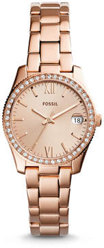 Fossil Scarlette Three-Hand Date Rose Gold-Tone Stainless Steel Watch