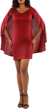 24/7 Comfort Apparel Spectacular Caped Sheath Dress