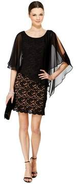 Connected Apparel Plus Size Illusion Overlay Lace Cocktail Dress.