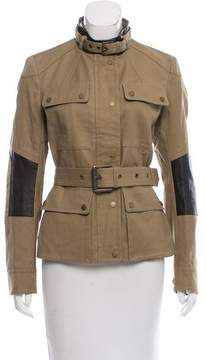 Belstaff Leather-Trimmed Military Jacket