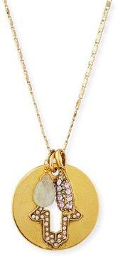 Sequin Hamsa Talisman Pendant Necklace