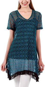 Lily Teal & Black Geometric Lace Sidetail Tunic - Women