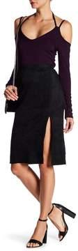 Fifteen-Twenty Fifteen Twenty Faux Suede Front Slit Midi Skirt