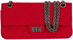 One Kings Lane Vintage Chanel Red Jersey Double Flap Bag - Vintage Lux