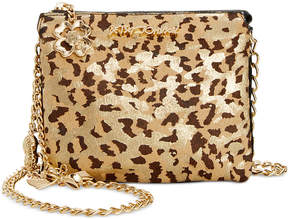 Betsey Johnson Metallic Leopard-Print Mini Crossbody