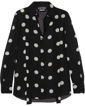 Moschino Polka-dot Silk-chiffon Shirt - Black