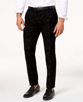 INC International Concepts Men's Slim-Fit Flocked Paisley Pants, Created for Macy's